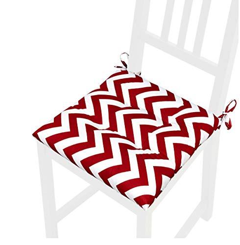 emmevi Cojín suave para silla universal lavable moderno a rayas Zig Zag Mod. CALLA11L rojo