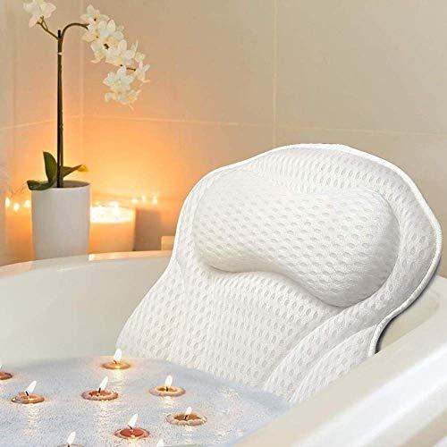 Moonssy Cojín para bañera con 6 ventosas – Tecnología 4D transpirable y cómodo para bañera, spa e hidromasaje para cabeza y cuello