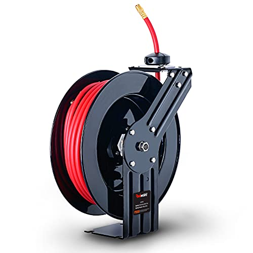 """ReelWorks Air Hose Reel Retractable 3/8"""" Inch x 50"""