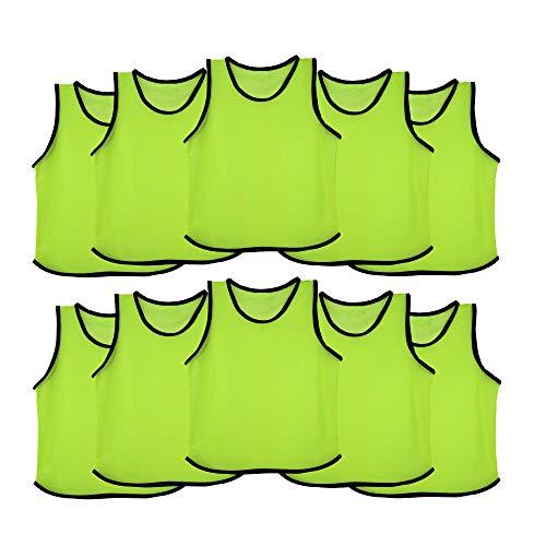 Ronex Sports - Pettorina da allenamento per bambini, ragazzi e adulti, confezione da 10 pezzi, Fluorescente, Adulto
