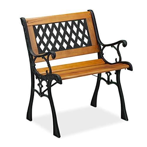 Relaxdays Gartenstuhl mit Armlehne, belastbar, niedrig, Vintage-Design, Holz & Gusseisen, 73x62x 52,5 cm, Natur-schwarz