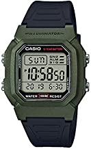 Casio Men's Classic Stainless Steel Quartz Watch with Resin Strap, Black, 18 (Model: W-800HM-3AVCF)