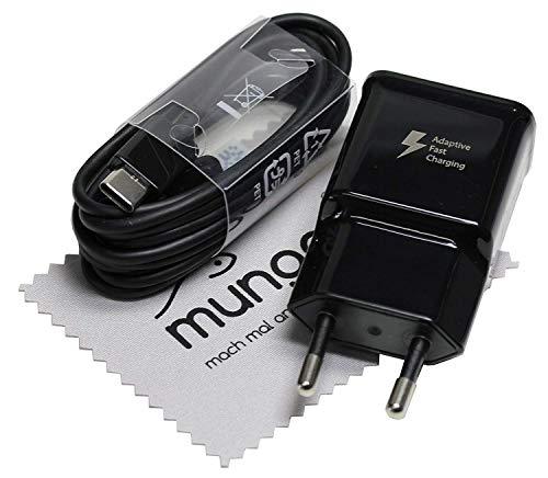 Cargador para Original Flash Rápido Samsung 2A + Cable de Carga USB Tipo C 1,5m para Samsung Galaxy S8, S8 Plus (S8+), A20, A30, A40, A50, A70, A80, M20, M30, M40 con mungoo Pantalla paño de Limpieza