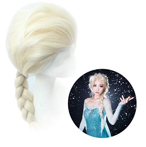 Amycute Peluca de Elsa Princesa Reina de Nieve Vestir Accesorios Adulto Regalo para la Fiesta de Cumpleaños Cosplay