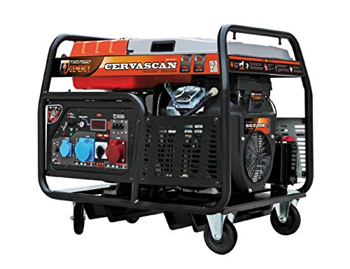 Generador de potencia profesional de gasolina (15 kVA 12.000 W, 12 kw, SVR, regulación de voltaje inteligente, 400 V 230 V, arranque eléctrico, 72 dBA 7 Mts LpA, GENERGY by Tools.de