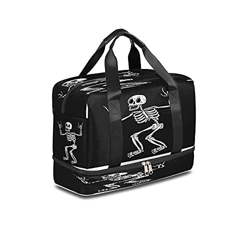 BOLOL - Bolsa de viaje con diseño de calavera, bolsa de deporte, bolsa de viaje para hombre y mujer