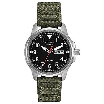 Citizen Eco-Drive GarrisonQuartz Unisex Watch Stainless Steel with Nylon strap Field watch Green  Model  BM8180-03E