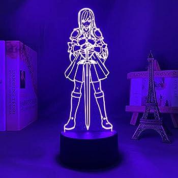 3D Anime Illusion Fairy Tail Erza Scarlet Figuur Figurine LED Night Light Kids Birthday Gift Bedroom Decor Manga Table Lamp-Remote Contro