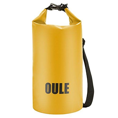 Oule Packsack Drybag wasserdichte Tasche aus Strapazierfähige LKW-Plane ca. 25 Liter in GELB