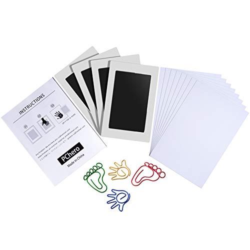 PChero 4er Pack Baby Handabdruck und Fußabdruck Clean-Touch Stempelkissen, Pfotenabdruck Tintenkits, Perfekt für 0-6 Monate Babyparty Geschenk Familien Andenken