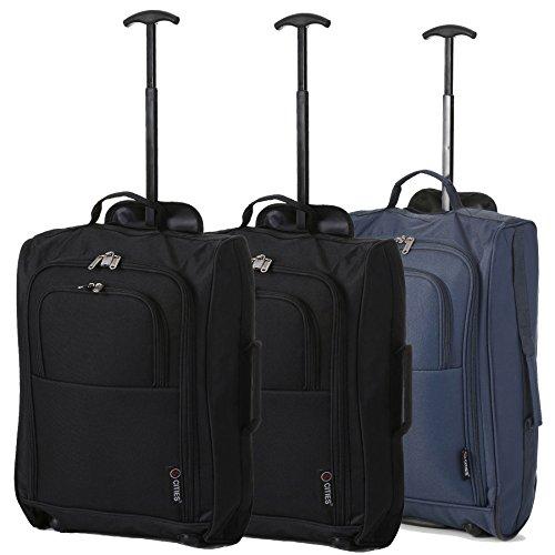 """Set di 3 Trolley 5 Cities - Bagaglio a mano (21""""/55cm) - Valigia soft da Cabina con 2 Ruote - Ideale per Ryanair, EasyJet, WizzAir, Alitalia. (Nero/Verde/Oro Rosa)"""