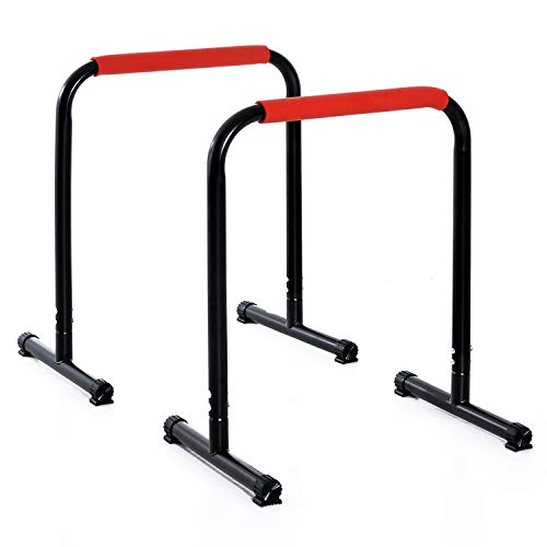 homcom Parallele Fitness per Il Potenziamento e la Tonificazione Muscolare Altezza 73cm, in Tubi d'Acciaio Nero