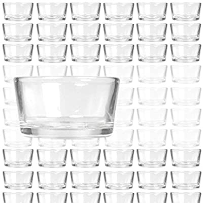 BANBERRY DESIGNS Bulk Set of 72 Glass Tea Light Holders - Clear Glass Ideal for Weddings, Party Decor or Holiday Centerpieces