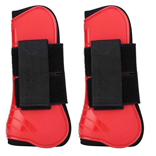 1 Paar PU Horse Jumping Leg Boot Schutzunterstützung Wrap Equestrian Equipment Tauchmaterial Hinzufügen(Rosa)