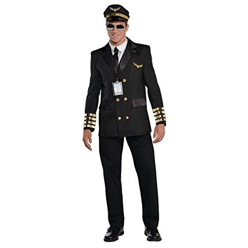amscan 846925-55 Adults Costume in Black with Pilot Hat and Lanyard-Size PC Pilotenkostüm für Erwachsene in Schwarz mit Pilotenhut und Umhängeband, Größe M, 1 Stück, M