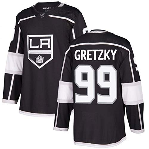Gretzky # 99 Kings Eishockey Trikot Langarm Eishockey T-Shirt Herren Puck Sportswear Wettbewerb Team Training Training Schwarz S-3XL-L