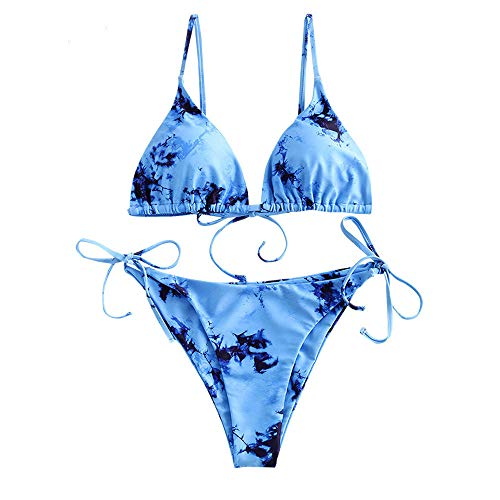 ZAFUL Women's Criss-Cross Tie Dye Cinched String Triangle Bikini Set Ribbed Floral Leaf Print Three Piece Swimsuit (Small, Blue-2 Pieces)