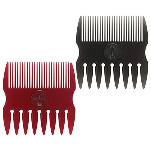 2pcs Barba peinetas, Segbeauty Hombres Cepillos para el cabello Peluquería Estilista Modelar y burlarse Bigote de mojado Patillas de mano Peine Herramientas portátiles (Negro y rojo)
