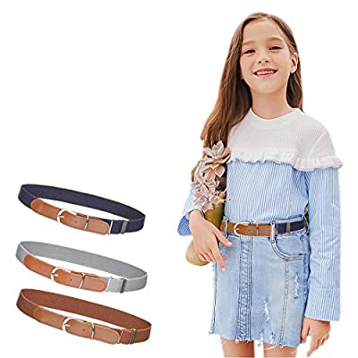"3Pcs AWAYTR Toddler Belts for Boys - Elastic Adjustable Belt with Brown Leather Loop (Gray/Navy blue/Brown, Pant Size: 20""-26"")"