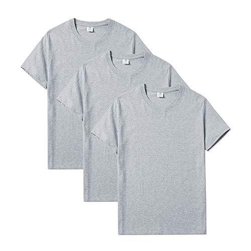 YFNT T-Shirt Uomo Manica Corta Cotone Maglietta Intima Slim Fit (M, Grigio)