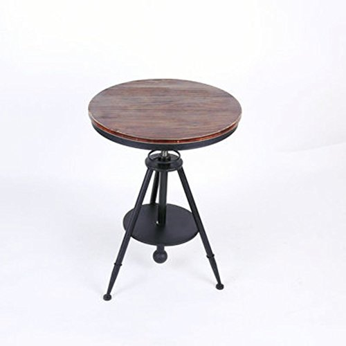 cj-CJ Height Adjustable End Table,Round Side Table Coffee Table Tea Table with Metal and Solid Wood...