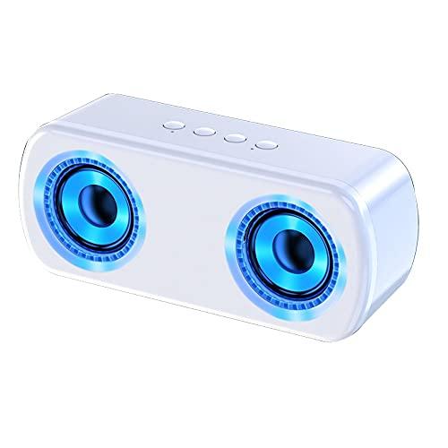 Altavoz Retro Bluetooth, Altavoz Bluetooth, Altavoz Inalámbrico Portátil,Aurtec Bluetooth 4.2, Altavoz Estéreo De Audio para El Hogar con Sonido Potente Y Subwoofer (Color : White)