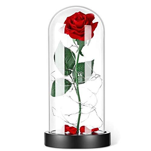 XHDH Eterno Rosa, Flor Artificial Belleza y Rosa con Luces LED, día de San Valentín Día de la Madre Regalos de Boda Decoración de cumpleaños