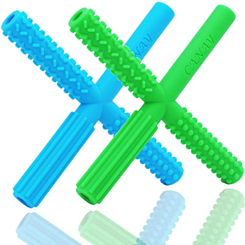 CANAY X Hollow Teether Tubes with 3 Different Textures  Teething Toys for Babies 06 Months 612 Months  BPA Free / Freezer amp Refrigirator Safe  Baby Teether for Infants and Toddlers