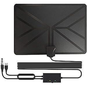 BESROY 2020 Newest Antena de TV Interior, HD Antena TV portátil HD TV Digital 120 Millas con Amplificador de señal Inteligente para Canales de TV gratuitos,compatible con 4K 1080P HD/VHF/UHF