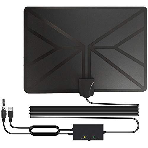 Antena de TV Interior, HD Antena TV Portátil HD TV Digital 120 Millas con Amplificador de Señal Inteligente para Canales de TV Gratuitos,Compatible con 4K 1080P HD/VHF/UHF