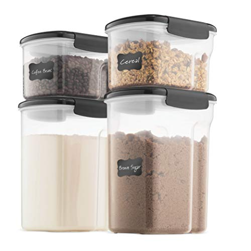 Airtight Food Storage Containers With Lids - BPA Free Plastic Kitchen Pantry Storage Containers - Dry Food Storage Containers Set For Flour, Cereal, Sugar, Coffee, Rice, Nuts, Snacks Etc. (Gray)