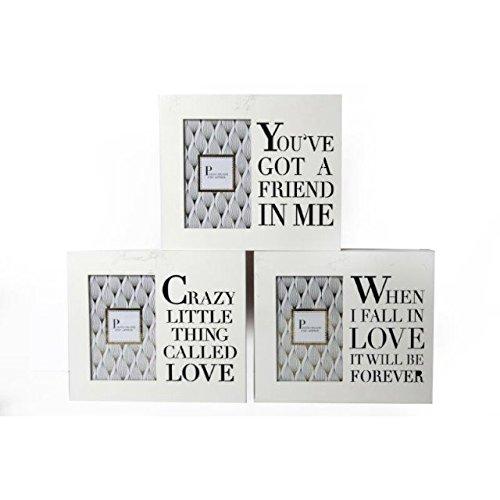 Blanc Et Doré Boîte en bois Cadre photo 6 x 4 Découpe Mots Texte proverbes