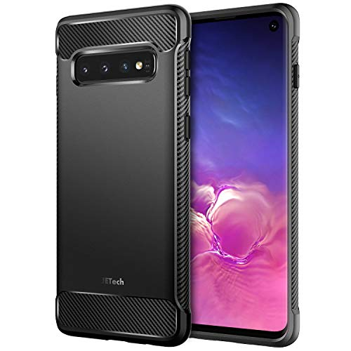 JETech Case for Samsung Galaxy S10, Protective Cover with Shock-Absorption and Carbon Fiber Design, Black