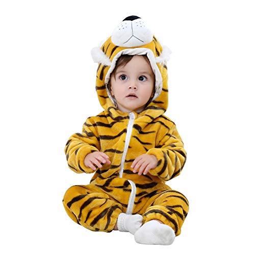NELNISSA Tuta Bambino con Flanella neonata Neonato (Tiger 12-18M)