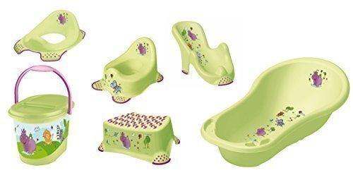 6er Set Vert Hippo Baignoire XXL Siège + Pot + Toilette+ Tabouret+ Sceau à Couches