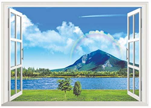 Muurstickers, Bos Boom Berg Zee 3d Verwijderbare Raam Uitzicht Landschap Behang Woonkamer Poster Decoratieve Home Decor