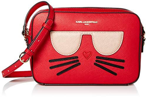 Karl Lagerfeld Paris Damen MAYBELLE CHOUPETTE CAMERA CROSSBODY Umhängetasche, Purpurrot, Einheitsgröße