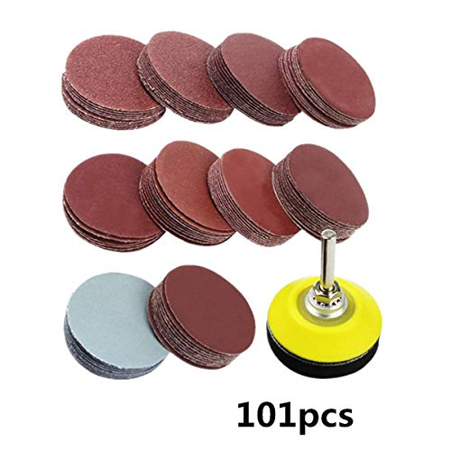 Greatangle-UK 101pcs 80-3000 Grits Schleifscheiben-Set 2 Zoll 50 mm + Schleifen-Schleifkissen mit 3 mm Schaft zum Polieren von Reinigungswerkzeugen