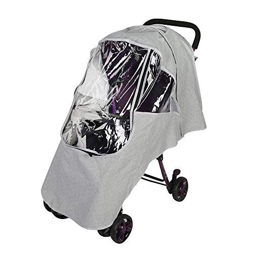Housse anti-pluie pour poussette universelle, protection contre les intempéries pour poussette transparente, accessoires de poussette pour poussette(Universal-Gris clair)