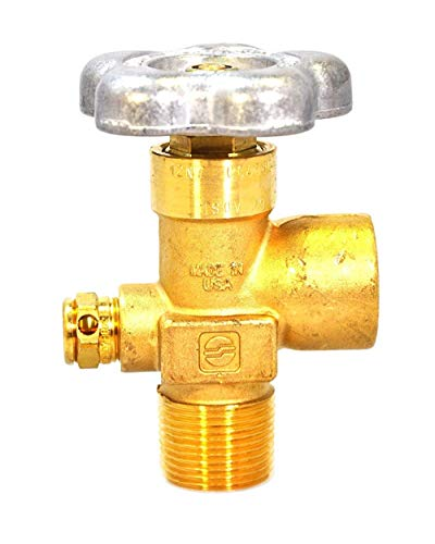 Sherwood Global Brass Cylinder Valve | for Inert Gas Service - Argon, Nitrogen, Helium | w/Alloy Hand Wheel | 3/4' - 14 NGT 7 Thread Over Sized Inlet