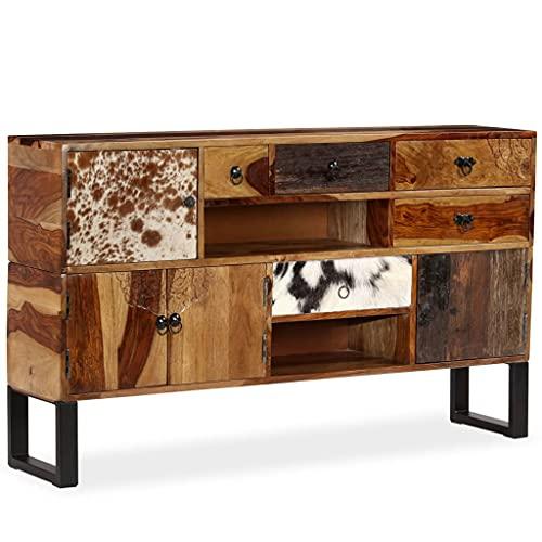 Sideboard Massivholz 140 x 30 x 80 cm,Massives Palisander-Holz Stahlfüße,Mit echtem Rindsleder-Detail,Handgeschnitzte Dekorationen