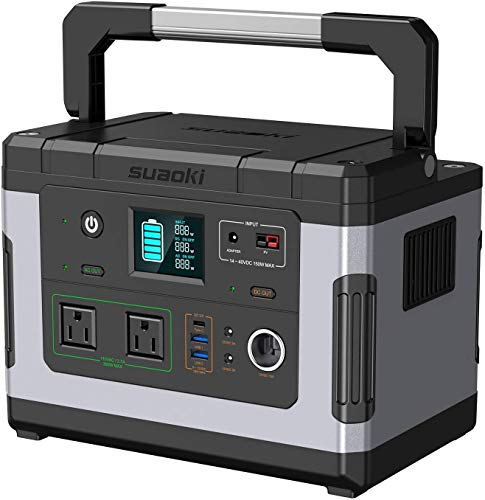 SUAOKI G500 Portable Power Station 500Wh Solar Generator Quiet Lithium Rechargeable Power Supply with 300W AC Inverter, 12V DC, 12V Car, USB/Type-C Quick Charge Port for Emergency Camping CPAP Outdoor