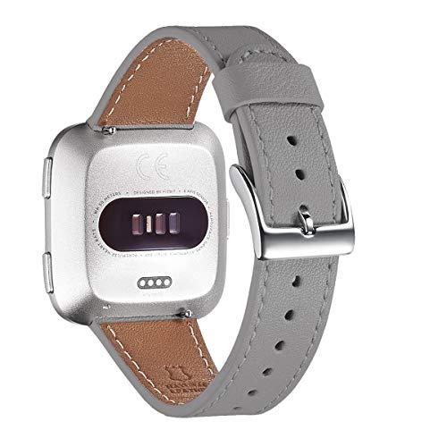 WFEAGL für Fitbit Versa Armband,Lederband mit Edelstahl-Verschluss für Fitbit Versa/Versa 2 /Versa Lite/Versa SE Fitness Smart Watch(Grau+Silber Schnalle)