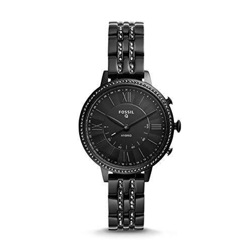 Fossil Jacqueline Hybrid Smartwatch Schwarzer Edelstahl Damenuhr FTW5037