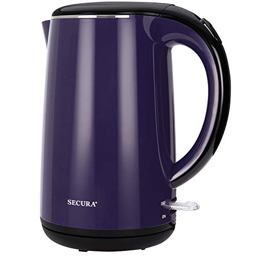 Secura SWK-1701DP The Original Stainless Steel Double Wall Electric Water Kettle 1.8 Quart, Dark...