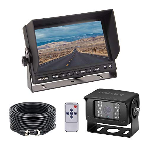 Heavy Duty Vehicle Truck Bus Backup Camera System,Waterproof Night Vision Rear View Camera with 7 inch Monitor+66ft 4 PIN Camera Cable for Bus Truck Van Trailer RV Campers Motor Home(12V 24V)