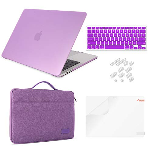 MacBook Pro 13 Case (2019&2018&2017&2016) Release A2159/A1989/A1706/A1708 Bundle 5 in 1,iCasso Hard Shell Cover,Sleeve,Screen Protector,Keyboard Cover,Dust Plug Compatible Newest Mac Pro 13'',Violet