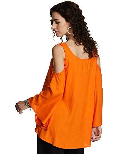 Amazon Brand - Myx Women's Solid Loose Fit Full Sleeve Top (SS19MYXTP011A_Orange_S)
