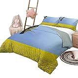 Quilt Set Gelb & Blau Weiche Ganzjahres-Baumwollmischung Tagesdecke Big Vintage Polka Dots Pattern Nostalgisch Stilisiert Spotted Pastel Design Teal Yellow