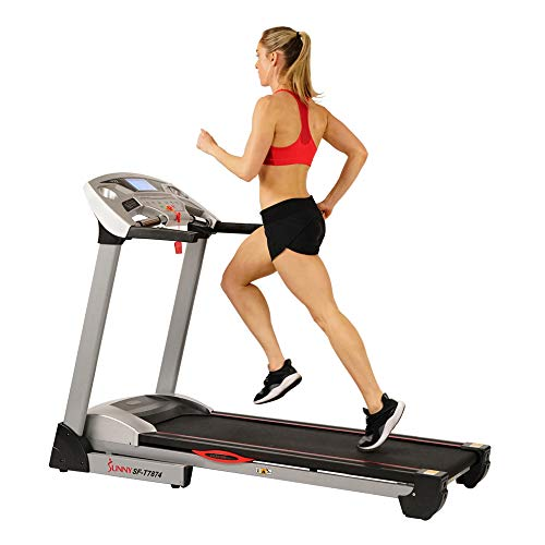 Sunny Health & Fitness Electric Treadmill with 11 MPH Max Speed, LCD and Pulse Monitor Auto Incline, 285 LB Max Weight, Speakers and Body Fat Function - SF-T7874